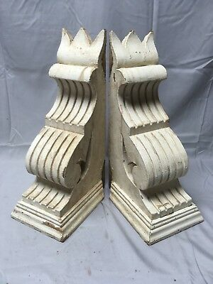 Antique 1890s Pair Wood Corbels Victorian Architectural Shelf Brackets 64-17B