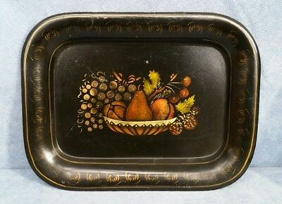 """Vintage Black Metal Tole Hand Painted Fruit Basket Small Serving Tray 9.5""""×7.5"""""""