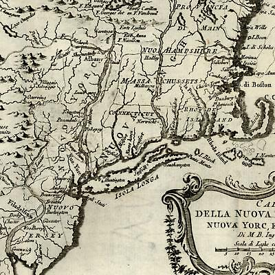 New England 1781 Bellin Italian rare old map Iroquois Nation Native Americans