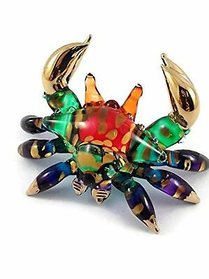 Tiny Crystal Crab Hand Blown Clear Glass Art Crab Figurine Animals Collection...