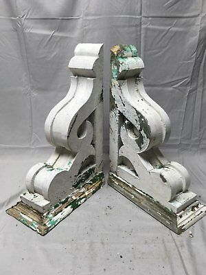 Antique 1890s Pair Wood Corbels Victorian Architectural Shelf Brackets 66-17B