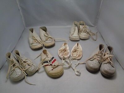 5 Pairs Of Vintage Baby Shoes & 1 Without A Match