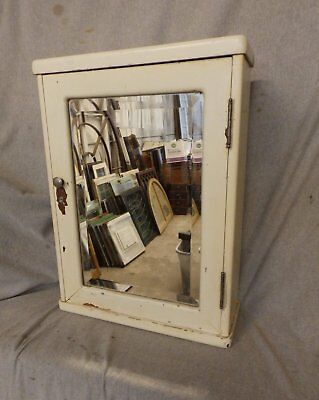Antique Wood Surface Wall Mount Medicine Cabinet Beveled Mirror Vtg Old  214 17P