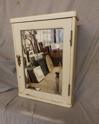 Antique Wood Surface Wall Mount Medicine Cabinet Beveled Mirror Vtg Old 214-17P