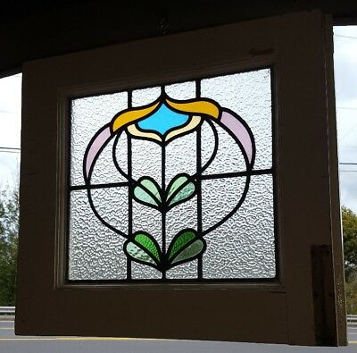 Gothic Mansion Antique Leaded Stained Glass Transom Window, Gorgeous