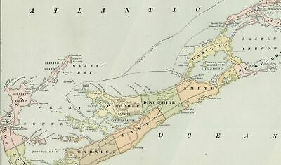 Bermuda Islands Hamilton population ferry routes Caribbean 1898 old color map