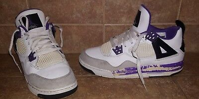 official photos 9a190 39bcc Nike Girls Air Jordan 4 IV Retro GS White Purple Grey 487724 108 Size 6Y  Cement
