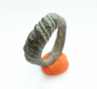 Ancient Old Viking Twisted Bronze Ring (JLE15)