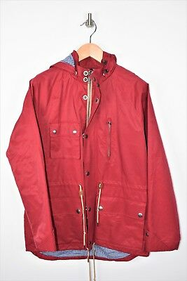 BROOKS BROTHERS Red Waxed Cotton  Bonded Rain Jacket Sz L COOL