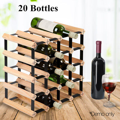 Timber Wine Rack 20 Bottles Pine Wood Steel Wine Holder Shelf Organiser  Stand