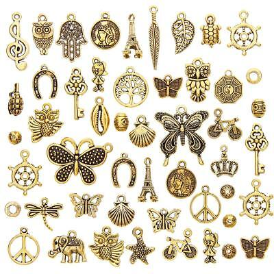 50Pcs/Set Antique Gold Mixed Styles Pendants DIY Jewelry for Necklace Making SS