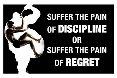 PAIN DISCIPLINE quote motivational poster 24X36 work out INSPIRATIONAL New - UY1