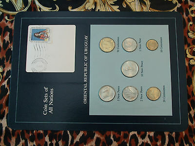 Coin Sets of All Nations Uruguay w/card 1980-1981 UNC Zabala 1,5 New Peso 1980