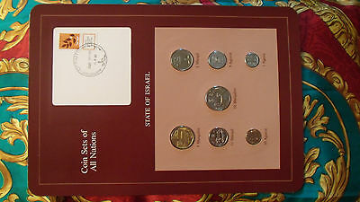 Coin Sets of All Nations Israel 7 coin w/card 1980 - 1983 UNC 1 Shequal 1983