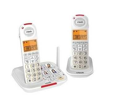 Vtech 17450 twin CareLine dect cordless telephone phone with Vsmart SOS Help But