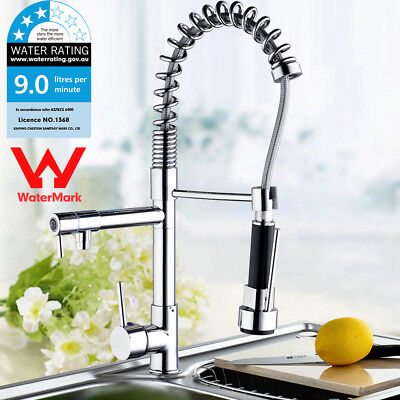 WELS Chrome Polished Pull Down Kitchen Basin Sink Mixer Swivel Spout Water Tap-B