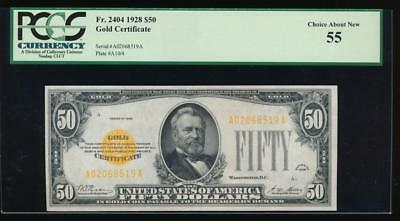 AC Fr 2404 1928 $50 Gold Certificate PCGS 55