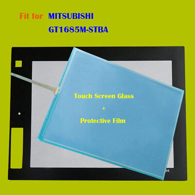 For MITSUBISHI GT1685M-STBA, GT1685MSTBA Touch Panel Glass + Protective Film New