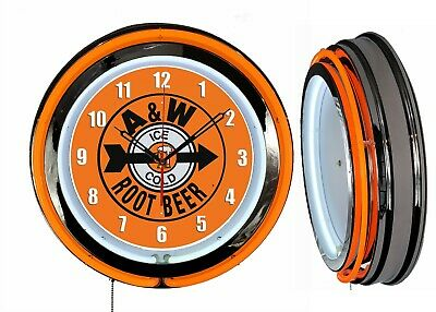 """19"""" Double Neon Clock A&W ROOT BEER Chrome Finish Orange Neon Color"""