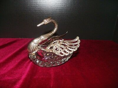 Crystal And Sterling Silver Swan Master Salt Dish Marked 935