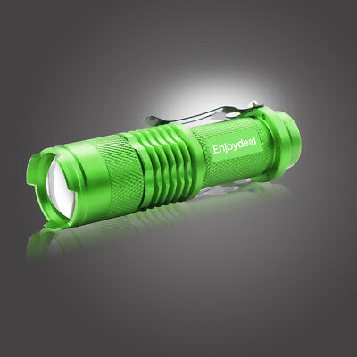 Portable Mini Q5 LED Zoomable 1200LM 3.7-4.2V Flashlight Torch Light Green