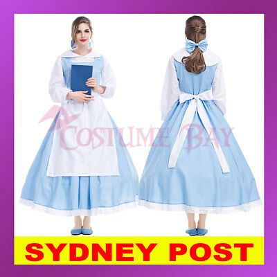 73ab1726f Ladies Sleeping Beauty and the Beast Princess Belle Blue Maid Gown Dress  Costume