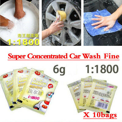 10 Pcs 6G Super Concentrated Car Wash Fine 1:1800 PH7 Detergent Powder Cleaning