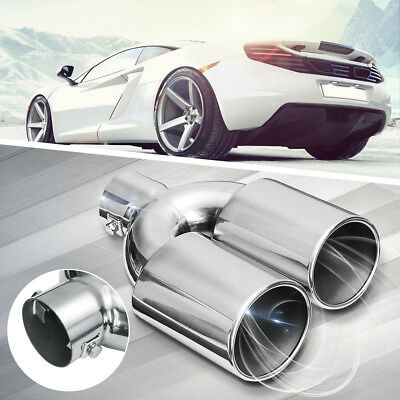 Universal 60MM Dual Twin Chrome Stainless Steel Exhaust Muffler Trim Tip Pipe