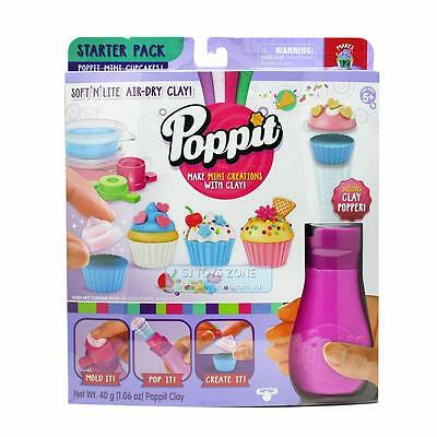 Poppit Mini Cupcakes Easy Making Creation Set Soft Lite Air-Dry Clay Mold Pop Cr