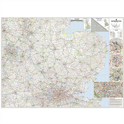 *brand New* Laminated Wall Road Map Of East Midlands & Anglia ¸ Mmc Rrm5