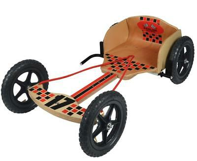 Kids Junior Children Quality Classic Wooden Ride On Go Kart Kids Redline Racers