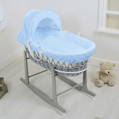 New 4Baby Blue Dimple Soft Stars Grey Wicker Baby Moses Basket & Rocking Stand