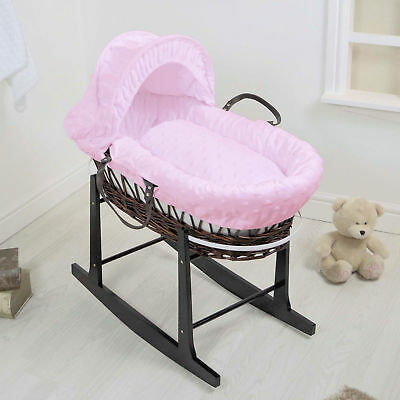 New 4Baby Pink Dimple Soft Stars Dark Wicker Baby Moses Basket & Rocking Stand