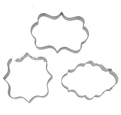 3pc Plaque Cutter Frame Cake Oval Square Rectangle Cookie Mold Stainless Steel