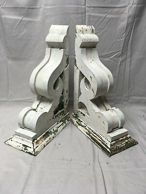 Antique 1890s Pair Wood Corbels Victorian Architectural Shelf Brackets 69-17B
