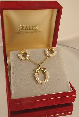 "Pretty 9ct Gold PEARL Stud Earrings PEARL Pendant 18"" Chain Wedding Gift cx773"