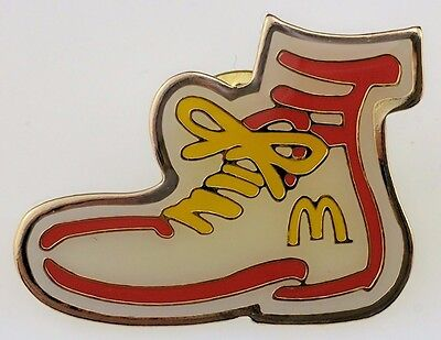 McDonald's Ronald Shoe Pin Employee Crew Red Yellow Laces Golden Arches