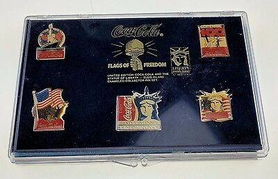 Coca-Cola Flags of Freedom 5 Pin Set Limited Edition Statue of Liberty 1986 Case