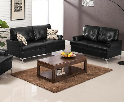 Phenomenal 2Pc Sofa Set Living Room Furniture Black Sofa Loveseat Uwap Interior Chair Design Uwaporg