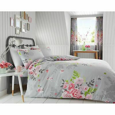 Alice Floral King Size Duvet Cover Set Roses Flowers Bedding - Grey & Pink