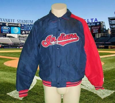 MAJESTIC Red Blue Indians MLB Bomber Jacket sz Youth heavy quality piece of kit