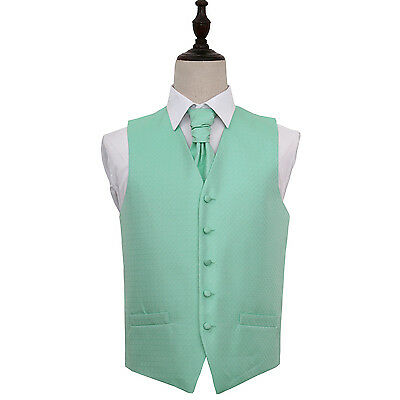 DQT Greek Key Patterned Mint Green Mens Wedding Waistcoat & Cravat Free Pin