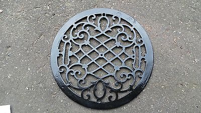 "Vintage VICTORIAN Cast Iron Floor Grille 14"" ROUND Heat Grate Register"