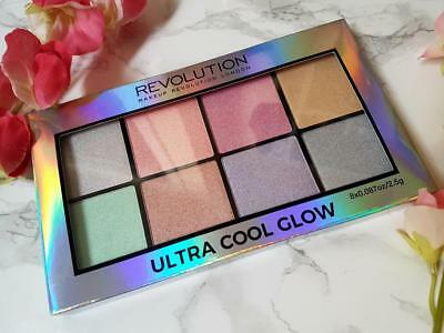 MAKEUP REVOLUTION Ultra COOL GLOW Rainbow HIGHLIGHTER BLUSH Holographic Palette