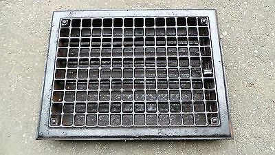 "Vintage Tin Floor Grille Heat Grate Register 16"" long x 12"" wide with Louvers"