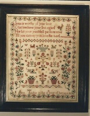 Reproduction Kit of a British Antique Sampler ~ Ann Taylor 1831 ~ LINEN