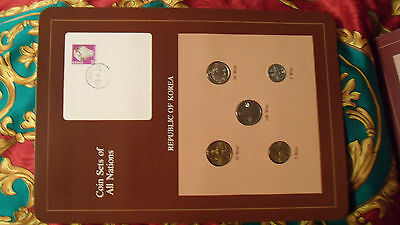 Coin Sets of All Nations Korea w/card 5 coin 1971 - 1983 UNC 5 won 1971