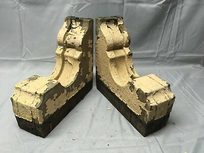 Antique 1890s Pair Wood Corbels Victorian Architectural Shelf Brackets 74-17B