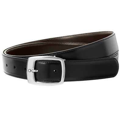 Montblanc Belt Two-tone Brown/Black Reversible belt Palladium-coated MB-09695