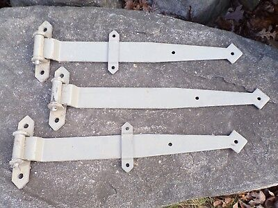 3 Antique Strap Hinges Old Iron Barn Cabin Shed Gate Farmhouse Primitive Door